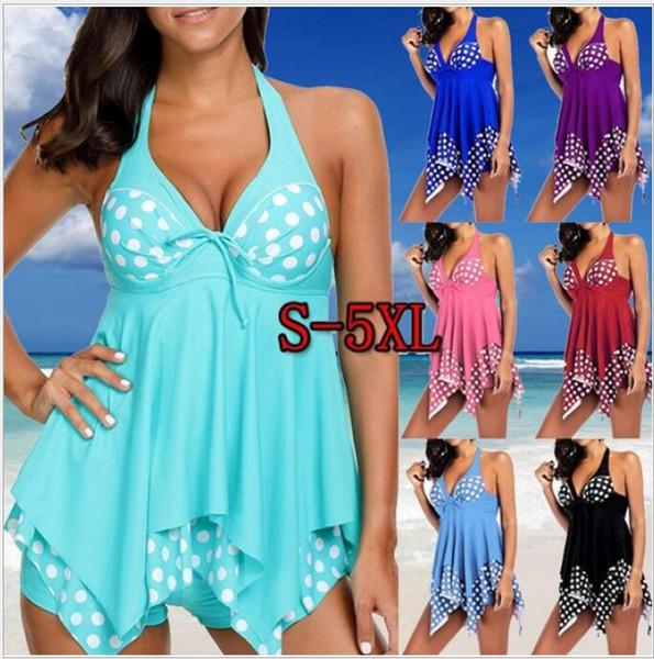 Two Piece Swimsuits Dresses Sexy Dot Print Fat Woman Swim Dress for Beach Plus Size S-5XL