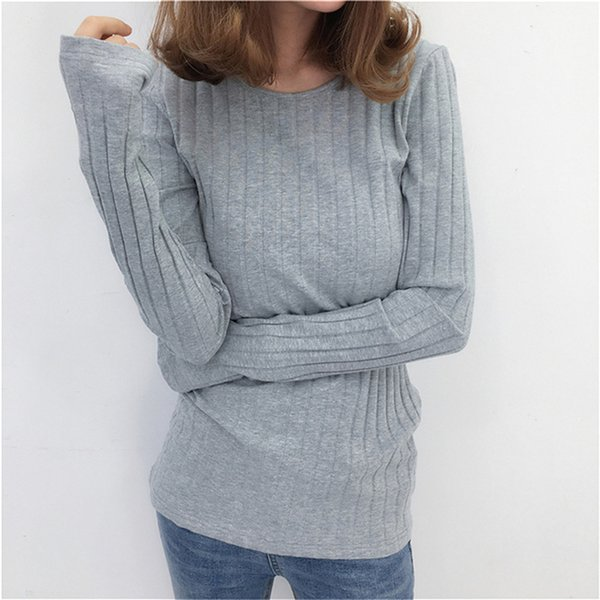 3bbbe8e5f0 Basic Cotton Ribbed Tops Tees With Thumb Hole Women Long Sleeve Tee Shirts  Essential Layering Autumn T Shirt Femme