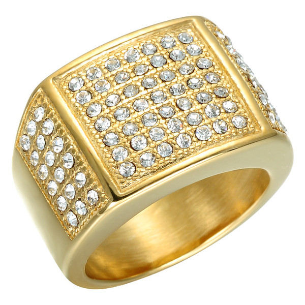 Fashion HIP Hop Micro Pave Crystal Chunky Square Mens Ring Iced Out Bling IP Gold Filled Thick Titanium Rings for Men Jewelry