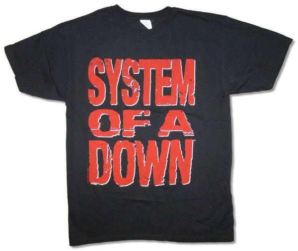 Sistema de un logotipo de letras de bloque rojas abajo camiseta negra Nuevo oficial de SOAD