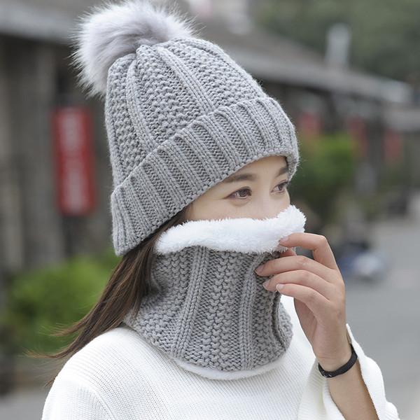 Otoño Invierno Gorras de punto de lana de las mujeres bufanda caliente  grueso a prueba de 35445d90608