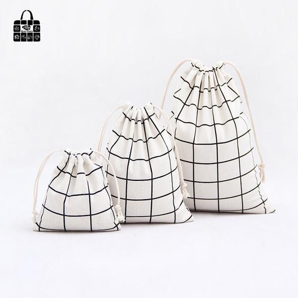 1 pcs Simple grid cotton linen fabric dust cloth bag Clothes socks/underwear shoes receive bag home Sundry kids toy storage bags
