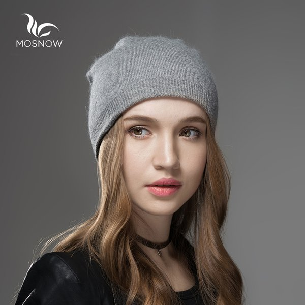 Mosnow Winter Hats For Women 2018 New Solid Wool Asymmetrical Knitted Vogue Brand Casual Warm Hat Female Skullies Beanies Bonnet S1020