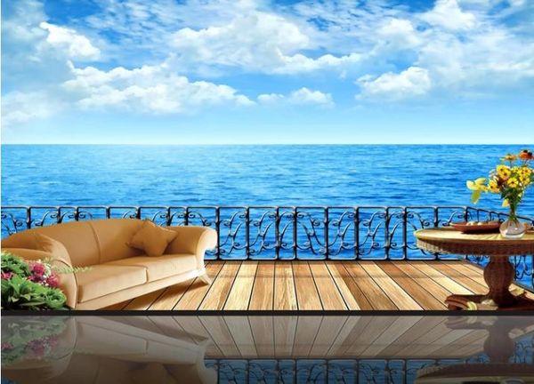 Özel 3D Modern Duvar Kağıdı Deniz Fotoğraf Kağıdı Oturma Odası TV Arka Plan duvar kağıdı