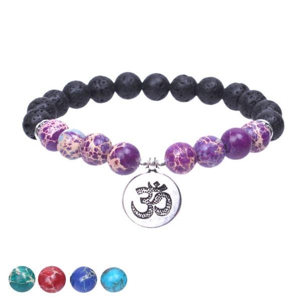 Lava stone Tibetan silver om charm bracelet for women Stretch Bracelet yogi energy bracelet Natural stone jewelry dropshipping