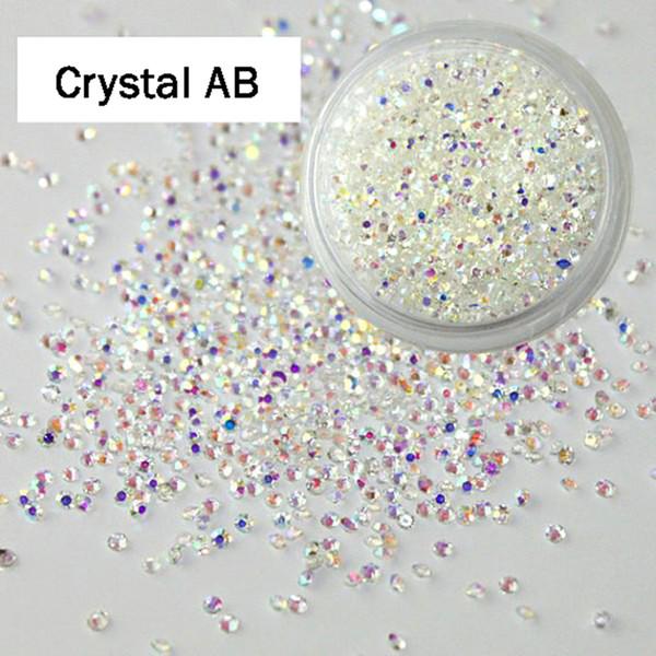 1440 pcs 1.2mm Cristal e AB Vidro Micro Strass para Unhas Cristais Strass Unhas Decorações Da Arte Do Prego Unhas Design Strass