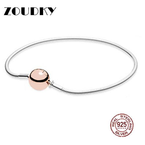 ZOUDKY100% Sterling Silver Classic Logo Round Chain Rose Gold Color Bracelet Bangle for DIY Ladies Gift Jewelry