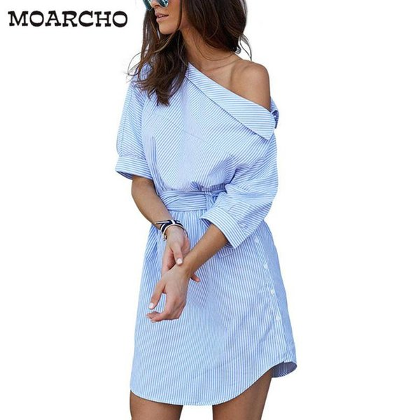 2017 Fashion one shoulder Blue striped women shirt dress Sexy side split Elegant half sleeve waistband Casual beach dresses