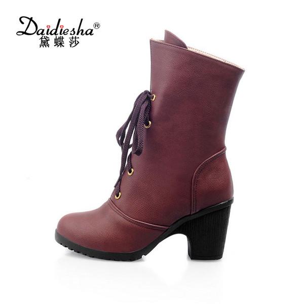 Daidiesha Fashion High Heel Plattform Martin stiefel Britischen Stil Herbstarbeitsstiefel Damen Schuhe Feste Schnürsenk ...