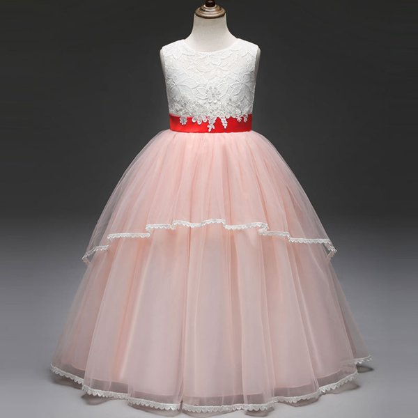 cac898cd50ce New 2019 Hot Sale Princess Lace Dresses for Girls Wedding Party Sleeveless  Kids Dress and Ball