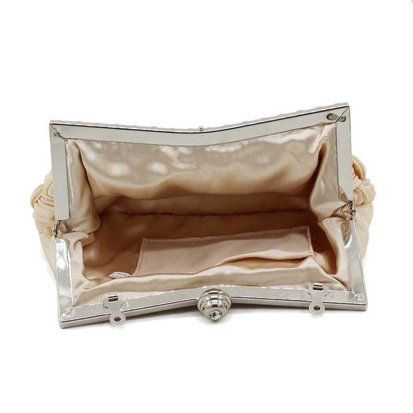 2019 Fashion Clutch Satin Beaded Crystal Knitted Clutch Evening Bags bride clutch with Chains tote party bag for evening dress