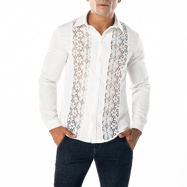 MIXCUBIC 2018 Autumn College style Unique Bilateral lace shirts men casual slim Symmetrical lace shirts for men,size S-XXL