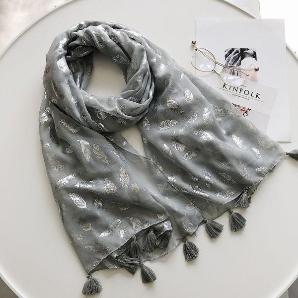 2018 New Fashion Silver Feather Foil Tassel Scarves Shawls Women Feather Print Tassel Wrap Muffler Hijab Wholesale 10pcs/lot