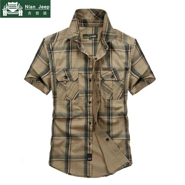brand army style shirt men 2018 summer 100% cotton plaid short sleeve mens shirts plus size 4xl 5xl camisa masculina, White;black