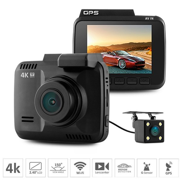 Mini Car DVR Mini Dash CAM 4K 2160P Car Dashboard Camera Built In GPS WIFI  G Sensor Windscreen Suction Mount DVR Night Vision Smart APP CCTV Counter