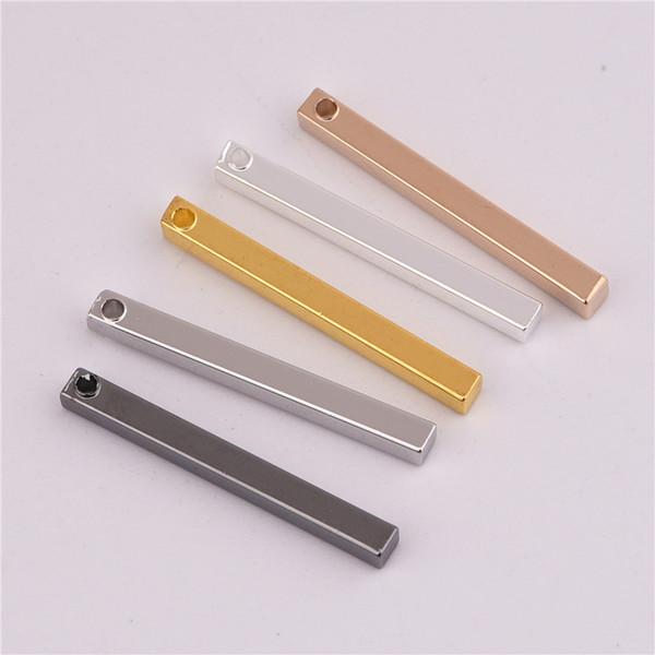 Todo sale2.5 * 25mm 50 unids Material de cobre Plata de oro En blanco encanto de la barra Simple encanto de la barra Tira larga para el collar Colgante para DIY