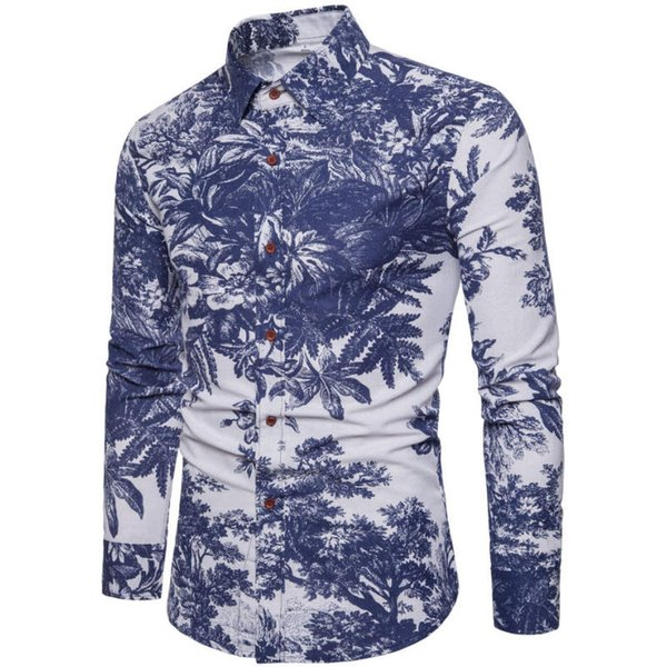 2018 New Fashion Casual Men Shirt Long Sleeve Europe Style Slim Fit Shirt Men High Quality Cotton Floral Shirts Mens Clothes 17