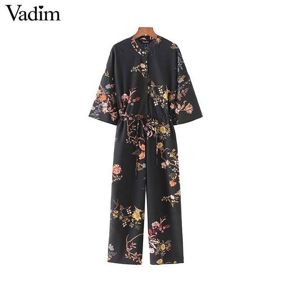 Vadim women vintage floral jumpsuits wide leg pants bow tie belt elastic waist pockets rompers female chic playsuits KZ1175Y1882902