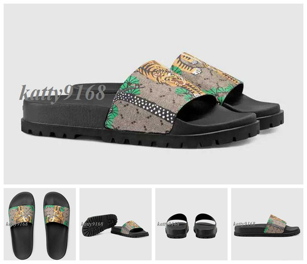 Factory Outlet 2018 fashion summer outdoor beah causal slippers for mens bengal tiger print leather rubber flip flops