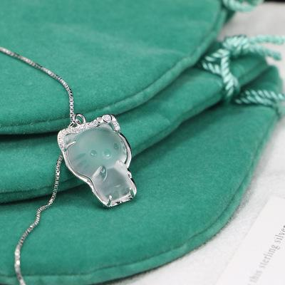 New S925 Sterling Silver Micro Crystal Cute Cat Diamond Necklace