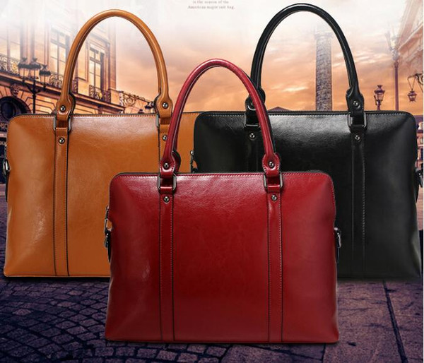 14 Laptop Bag 100% Genuine Real Leather Fashion Women Handbag Ladies OLBusiness Shoulder Tote Messenger Bag Purse Satchel Black Wine Red Ladies Bags
