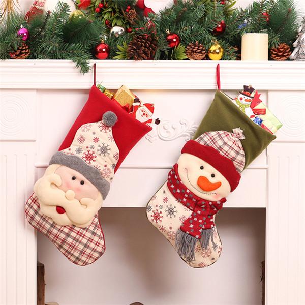 Christmas Stocking Gift Bag Presents Socks Natal Xmas Tree Candy Ornaments Gifts Decorations New Year Santa Sack Drawstring