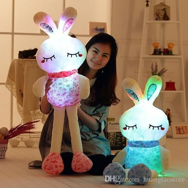 Wholesale-1pc 70cm Super Lovely Luminious Rabbit Plush Toy Staffed Rabbit Gleamy Doll Colorful Flashing Pillow Valentine's Day Gift