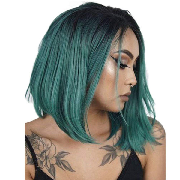 Ombre Human Hair Wigs #1B/green Unprocessed Indian Hair Short Bob Full Lace Wigs 130% Density Frontal Lace Wigs