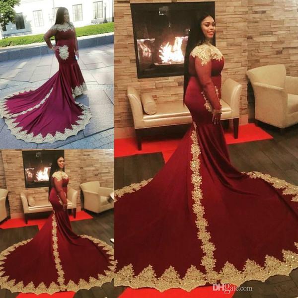 Plus Size Gold Appliques Prom Dresses Burgundy High Neck Mermaid Evening Gowns Vintage Long Sleeves Black Girls Saudi Arabic Dubai Party