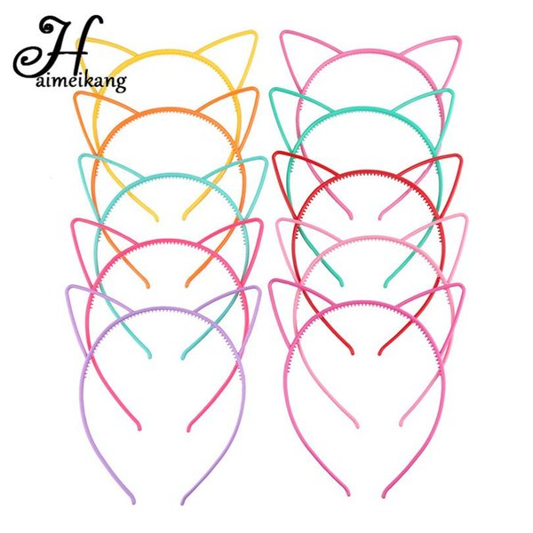 2018 Solid Candy Colour Color Plastic Cat Ear Tiara Princess Headband Hair band With Teeth girls kids Hair Accessories