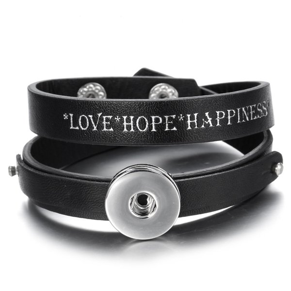 New Snap Button Bracelet 15 Colors Love Hope Happiness Black Leather Snap Bracelet for Women Men Fit 18mm Snaps Buttons Jewelry