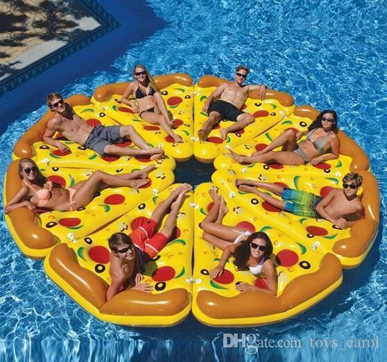 Inflatable Pizza Float ECO-Friendly PVC Floating Pizza Slice Summer Outdoor Swmming Pool Raft Fun Adults Kids Swim Party Toys