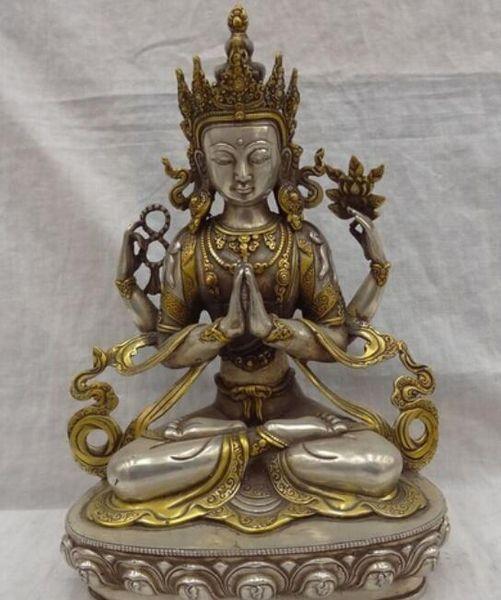 Sculpture kwan-yin bouddhiste en argent doré au Tibet Statue de Bouddha de Chenrezig