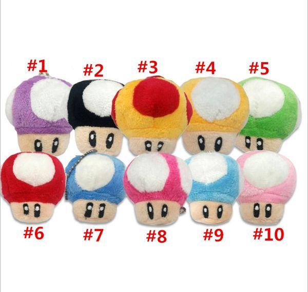 7cm Super Mario Bros Mushroom With Key Chain Plush Doll Toy kids gift Classic Pendant Free shipping