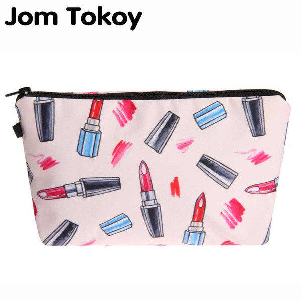 Jom Tokoy 2018 3D Lipstick Sketch Printing Cosmetic Bag Fashion Women Brand makeup bag