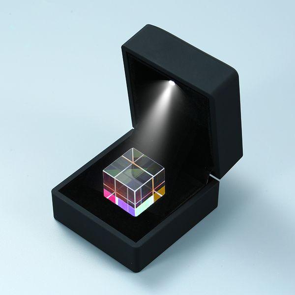 2.2cm Magic Clear Cube Colourful Light Square Blocks Fidget Toys - Killing Time EDC Toy Mini Crystal Birthday Gift - Black Box Packing
