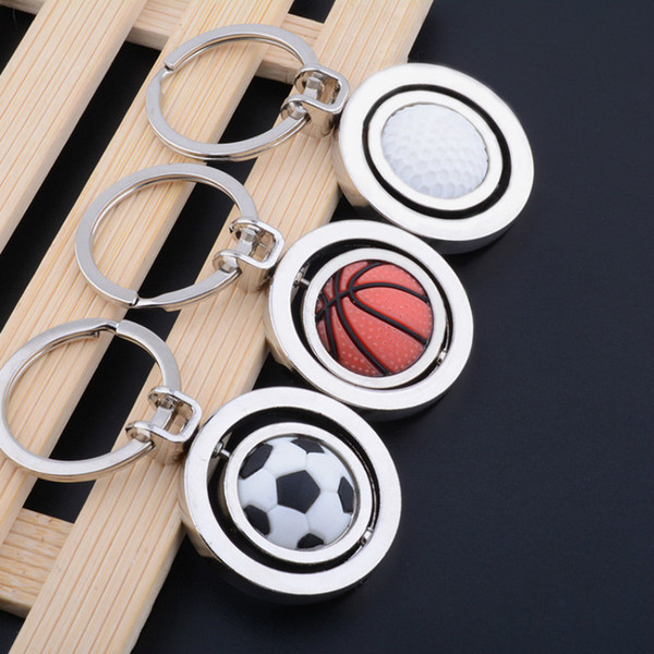 2018 Russia World Cup Creative Anime Key Chain Sport Rotatable Basketball Football Golf Small Gift Pendant for Party Home Decorating
