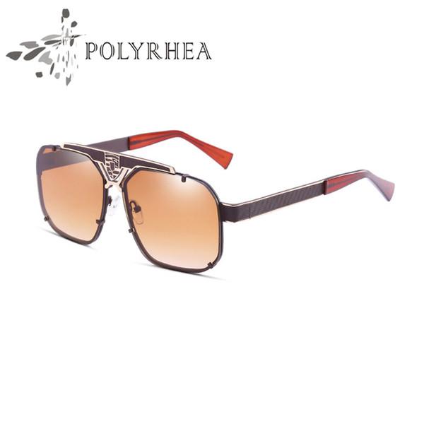 Alta Qualidade Marca Óculos de Sol Atitude Mulheres Óculos De Sol de Ouro Quadro Quadrado de Metal Frame Design de Estilo Do Vintage Com Couro Original