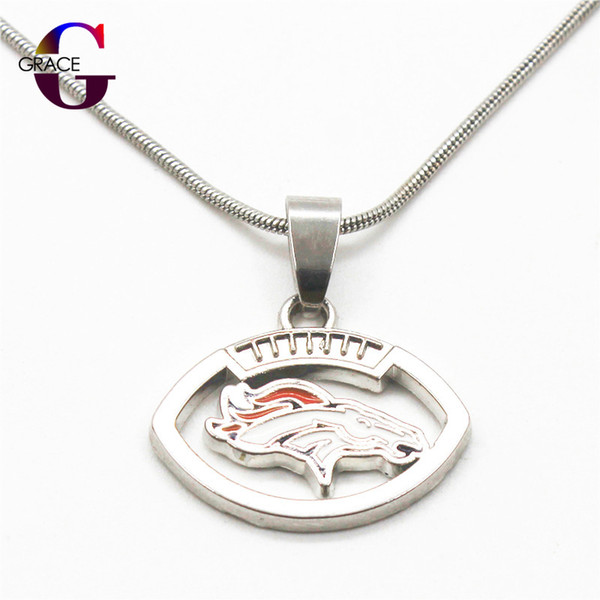 Enamel Football Team Sports Pendant necklace with snake chain(45+5cm) necklace For Women&Men Beauty DIY Jewelry