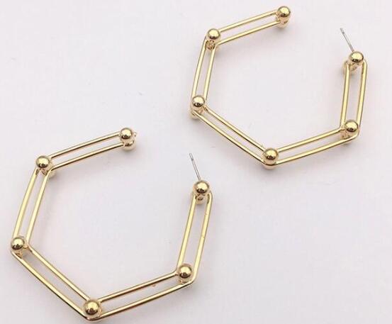 Fashion simple ladies earrings exaggerated hexagonal geometric ear clips pendant earrings jewelry