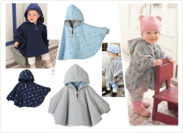 3 colors Infant Double-size Capes Children Kids Hoodies Outwear with Dots & Flowers Baby Toddler Reversible Poncho Cape 3 pieces a lot