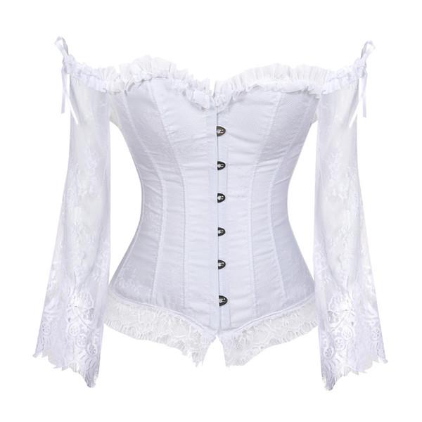 Braut Korsett Tops für Frauen mit Ärmeln Stil viktorianischen Retro Burlesque Lace Korsett und Bustiers Hochzeit Weste Fashion White