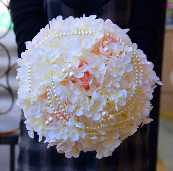 2018 Ivory Bride Flower Bouquet with Pearls Artificial Flowers Light Pink Yellow Wedding Bouquets Bridal Brooch Custom Made In Stock 26cm