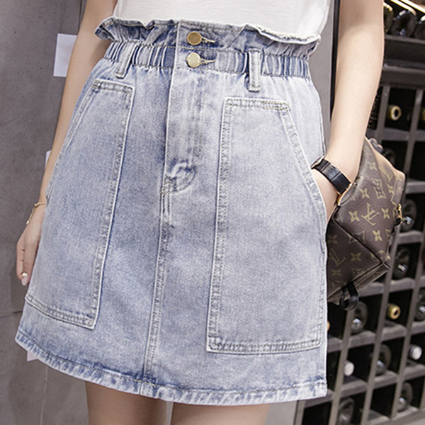 Harajuku A-line Pencil Denim Skirt Summer Womens High Waist Jeans Pockets Skirt White Blue Lotus Edge Skirt