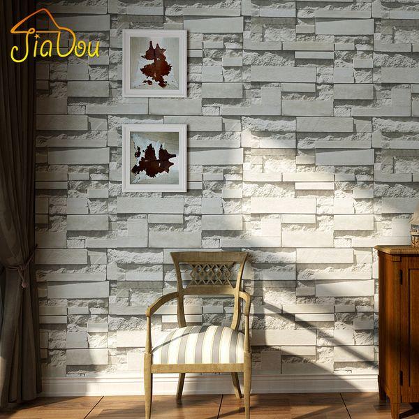 Modern 3D Stone Brick Wall Non-woven Wallpaper Roll Living Room Bedroom Background Wall Decor Art Paper Papel De Parede 3D