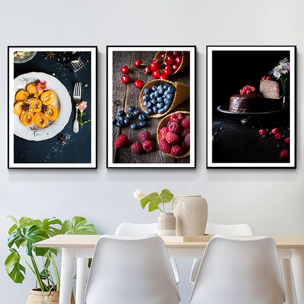 Fotografia di frutta di stile nordico Fotografia di tela di canapa Poster Stampa moderna Immagini di arte della parete per la sala da pranzo Cucina Cafe