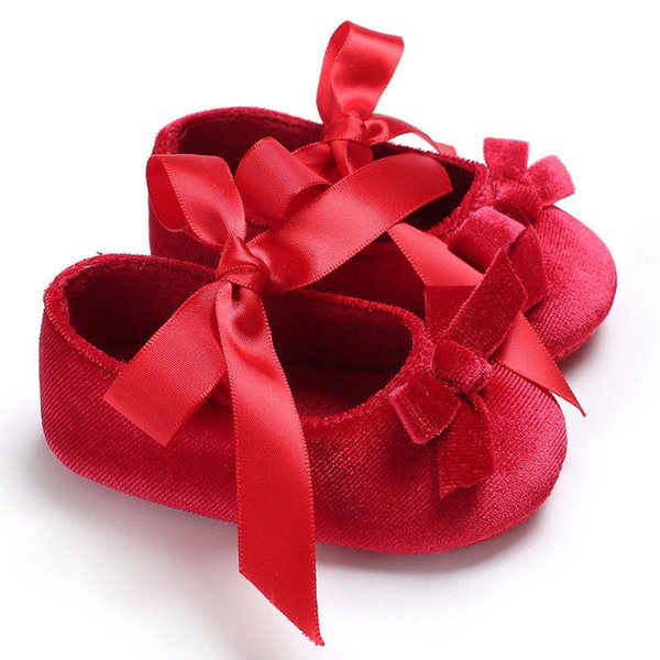 Newborn Baby Girls kids Toddler clothes Bow solid casual Anti-slip Crib Shoes Soft Sole Sneakers Prewalker Sandals one pairs