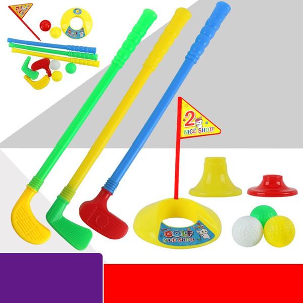 Children Golf Cue Set Plastic Leisure Time Kids Mini Motion Outdoor Sports Toys Classical Games Suit 4 8hh WW