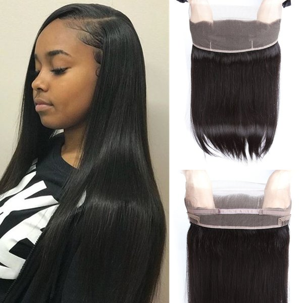 Indian Virgin Hair Straight 360 Lace Frontal Closure With Baby Hair Remy Human Hair Free Part Natural Color Top 360 Lace Frontal Closure