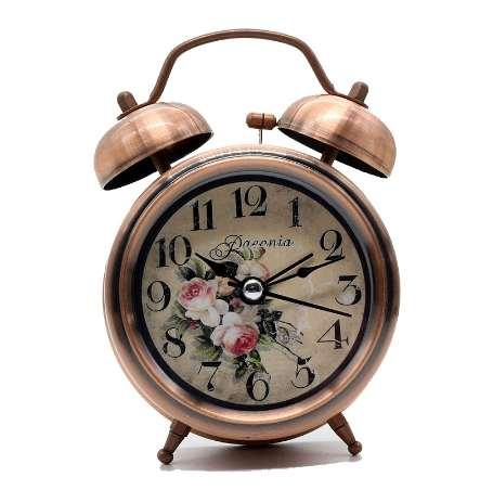 3 Inch Vintage Metal Alarm Clock Silent Desk Table clock with Backlight for kids children schoolboys girls office worker